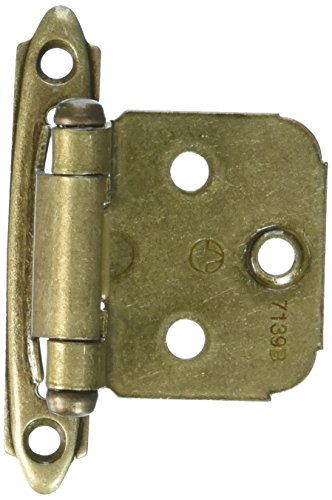 (Variable Overlay Self-Closing, Face Mount Burnished Brass Hinge - 2 Pack)