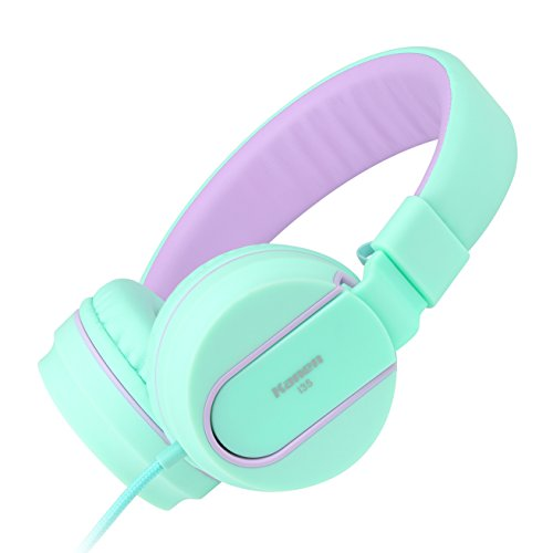 Ailihen I35 Headphones with Microphone Stereo Lightweight Adjustable Foldable Headset for Cellphones Smartphones iPhone iPod Laptop Computer Mp3/4 (Green Purple)