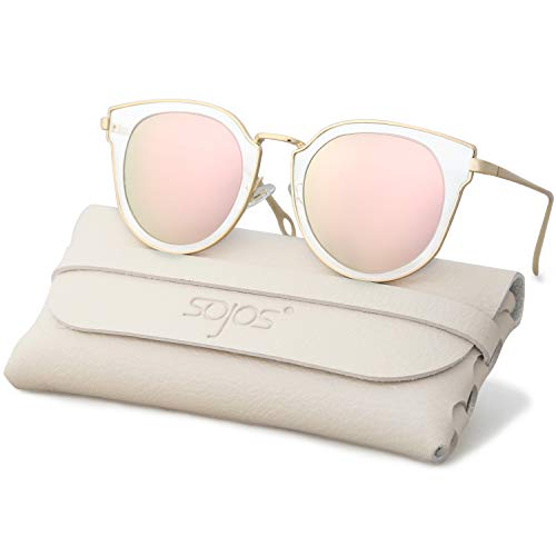024a678207d7 SOJOS Fashion Polarized Sunglasses for Women UV400 Mirrored Lens SJ1057  with Gold Frame Pink Polarized