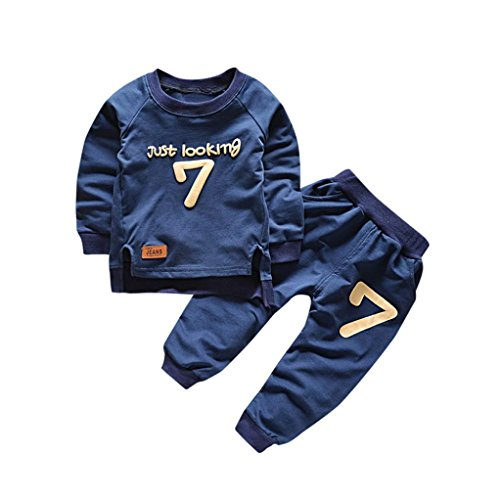 Gotd Toddler Infant Baby Girl Boy Clothes Winter Long Sleeve Print Tops+Pants Christmas Autumn Outfits Gifts (4T(3-4 Years), Navy)