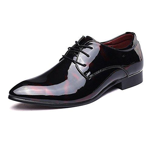 pelle formale Dimensione liscia BMD pelle Lace classica di EU Rosso pittura Oxford astratta Scarpe da 39 affari Top foderato Scarpe liscia Low Rosso Up Shoes uomo Color in qtStx1