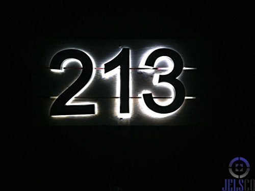 Backlit LED House Numbers (8 Inch Blue) Big, Modern Address Signs for Homes | Soft, Exterior Glow | Brushed Stainless-Steel Finish | Weather Resistant, Durable, Wired | by JELSCO (4) by JELSCO (Image #2)