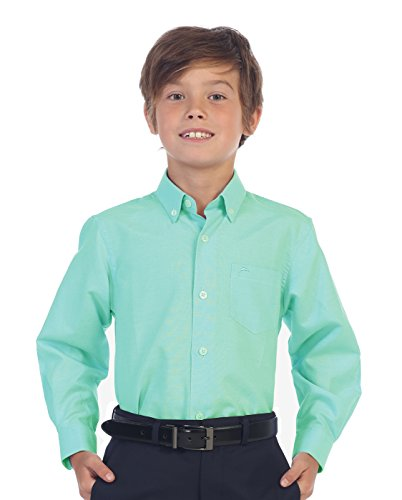 Dress Aqua Kids - Gioberti Boy's Oxford Long Sleeve Dress Shirt, Aqua, Size 12
