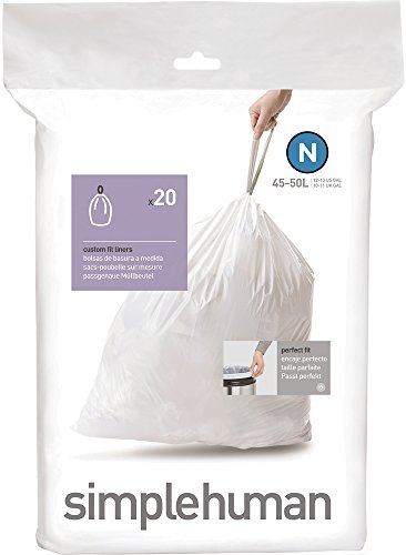 simplehuman Code N Custom Fit Trash Can Liner, 1 refill pack (20 liners), 45 -50 L / 12-13 Gal (Simplehuman Code C Liners compare prices)