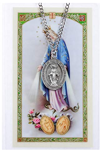 - Inspire Nation Mary Miraculous Necklace Medal Pewter on 24 inch Stainless Steel Chain with Prayer Card
