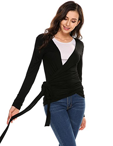 Soteer Women's Sexy Deep V Neck Bandage Surplice Wrap Crop (Cotton Long Sleeve Wrap)