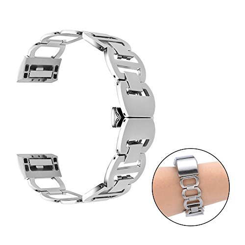 CUZOW Stainless Steel Metal Link Bracelet Adjustable Flexible Replacement Watch Band for Fitbit Charge 2 - Fashion Fir