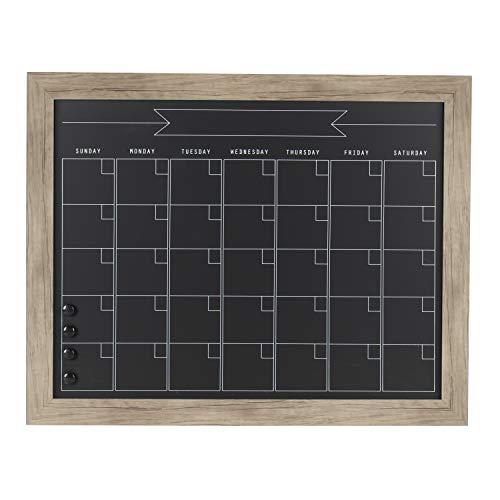 DesignOvation Beatrice Framed Magnetic Chalkboard Monthly Calendar Board, 23x29