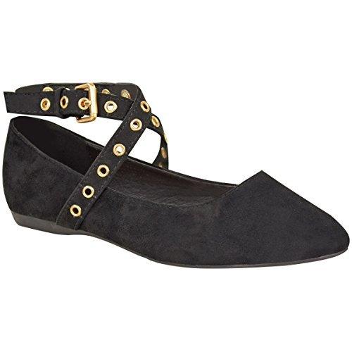 Mujeres Chicas Plano Bombas Zapatos de colegio ADORNOS DE TIRAS MUJER Mocasines talla NUEVO - Negro Ante Imitación / COLOR ORO OJALES, 37: Amazon.es: ...
