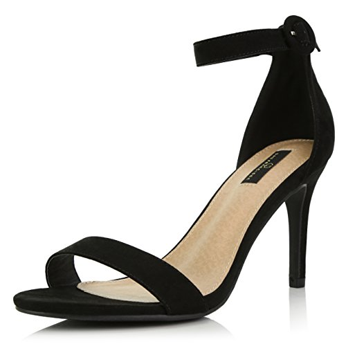 tilettos Open Toe Pump Ankle Strap Dress High Heel Sandals, Black Suede, 11 B(M) US ()