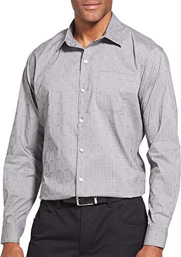 Van Heusen Men's Traveler Button Down Long Sleeve Stretch Black/Khaki/Grey Shirt, Light Plaid, Large