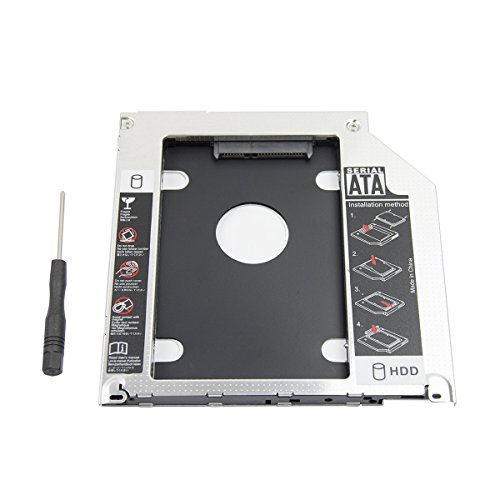2nd 2.5'' SATA HDD SSD Hard Drive Disk DVD CD ROM Optical SuperDrive Caddy Tray Adapter for Apple Unibody MacBook/MacBook Pro 13 15 17 Early mid Late 2008 2009 2010 2011 2012.etc -