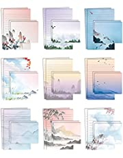 Mini Stationery Set of 100, Japanese Stationery Paper (50 Lined Sheets + 50 Matching Envelopes), 5.5 x 8.25 inch, 9 Designs, Double Sided Printing, One Side Lined Paper, by Better Office Products