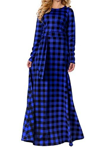 Invernali Abiti Lunga Vestito Blu Coolred Maxi V Scollo Manica A A Formali Reticolo maglia x61nqwaRAS