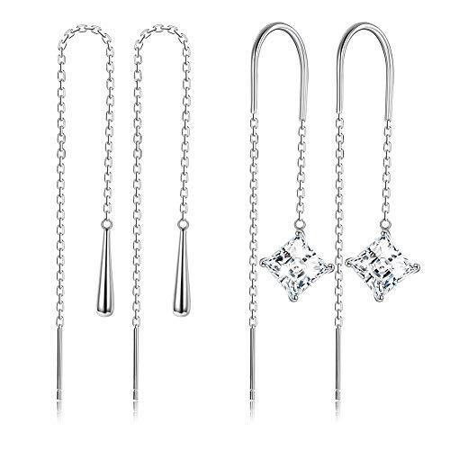 - Sllaiss 2 Pairs Waterdrop Square CZ Threader Dangle Earrings for Women Girls 925 Sterling Silver Pull Through Earrings Long Ear Chain Drop Earrings Hypoallergenic