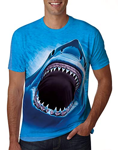 Uideazone T-Shirt for Men Women Short Sleeve Shark Printed Graphic Tee Shirt Summer Casual Crew Neck Top