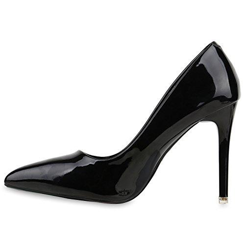 Stiefelparadies Spitze Damen Pumps Stiletto High Heels Lack Leder-Optik Schuhe Elegante Absatzschuhe Party Abendschuhe Abiball Flandell Schwarz Steinchen