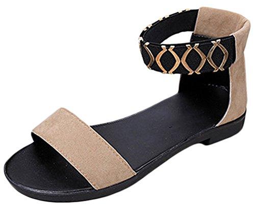 Scothen Sandalias de tacón Casual tarde Peep Toe mujeres de las sandalias planas de la hebilla de las sandalias romanas sandalias planas del Rhinestone correa del clip zapatos deslizadores de Bohemia Khaki