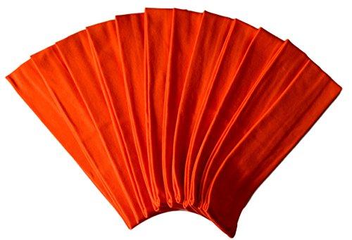 1 DOZEN 2 Inch Wide Cotton Stretch Headbands OFFICIAL FUNNY GIRL DESIGNS HEADBANDS (Official Funny Girl Orange)