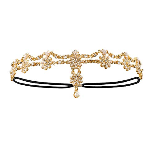 Metme 20s Head Chain Headband Hair Jewelry Forehead Headpiece for Women -
