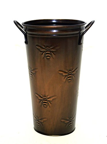 Smith & Hawken Pots - French Flower Bucket, Copperized Tin, Bumble Bee Pattern-10 Inches High X 5.5 Inches Diameter