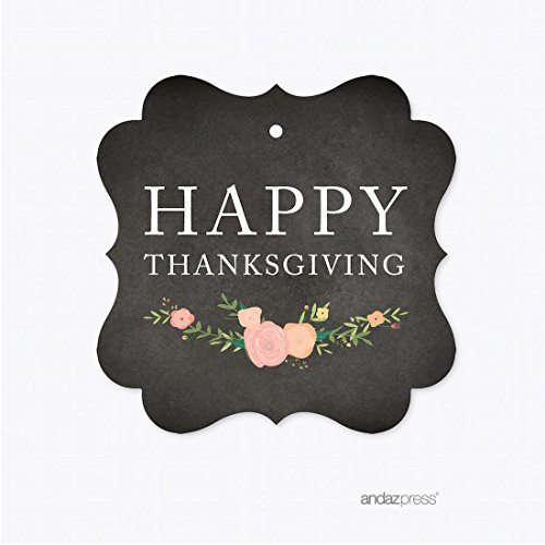 Andaz Press Chalkboard Floral Thanksgiving Fall Autumn Party Collection, Fancy Frame Gift Tags, Happy Thanksgiving, 24-Pack (Thanksgiving Frame)