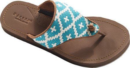 Acorn Artwalk Leather Flip Flop - Women's Turquoise/Cream Southwest, - Flops Acorn Flip