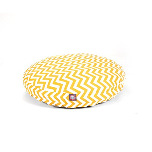 Medium Yellow Chevron Stripes Pattern Dog Bed, Elegant Zig Zag Stripe-Inspired Print Pet Bedding, Round Shape, Features Water, Stain Resists, Removable Cover, Soft & Comfy Design, Plush Polyester by CU