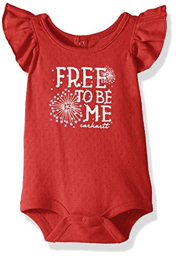 Carhartt Baby Girls Short Sleeve Bodysuit, Free to Beige Me (Tango Red) 9M