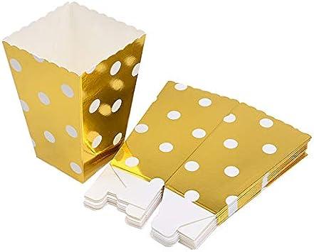 KBWL 6 Piezas Caja de Palomitas de Oro y Plata Snacks de Caramelo Caja de Regalo de Lunares Fiesta de cumpleaños Boda Película Fiesta Vajilla Suministros de decoración B02: Amazon.es: Juguetes y