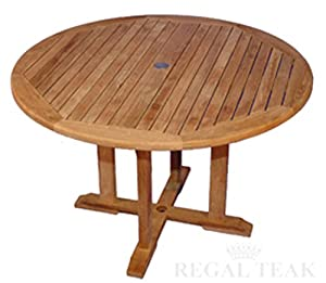 Amazoncom 48 Natural Teak Round Outdoor Patio Dining Wooden