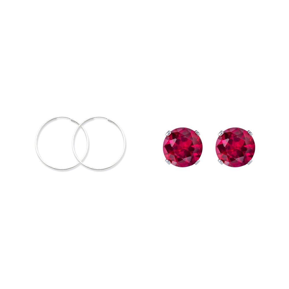 Sterling Silver 1.3mm Hoop Earrings and a pair of Red 4mm CZ Stud Earrings