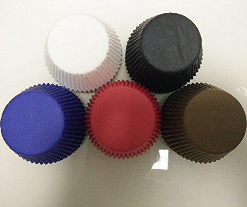 5 color Red,Black,White,Brown,Navy blue Solid Muffin Cupcake Liners Paper case birthday Baking Cups 500 pcs,Standard Size 3