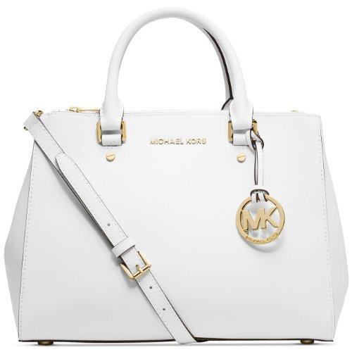 6e8eb3778452 Michael Kors Sutton Saffiano Leather Medium Satchel - Optic White ...
