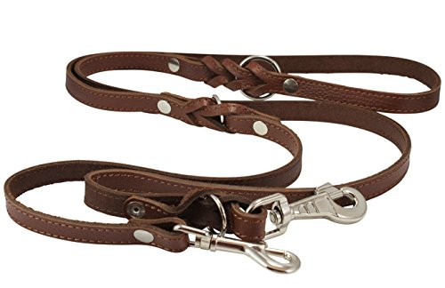 6 Way European Multifunctional Leather Dog Leash Braided, Adjustable Schutzhund Lead Brown 42