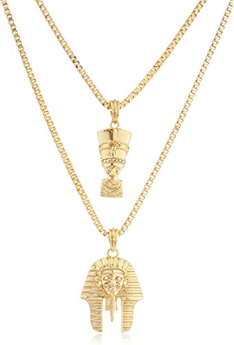 Goldtone Queen Nefertiti & King Tut Pharaoh Micro Pendants Layered 24-30 Inch Box Necklace Set