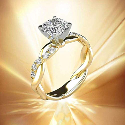 Drfoytg Silver Ring Bridal Zircon Elegant Engagement Wedding All-Around Band Ring for Women Size 5-10 3 Colors