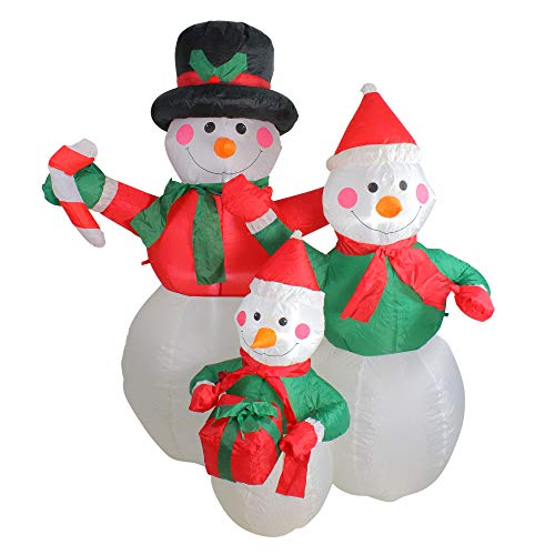 - Northlight 4' Inflatable Snowman Family Lighted Christmas Yard Art Decoration