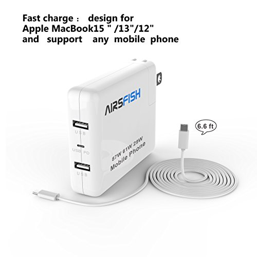 Macbook Pro charger 87W/61W/29W, Airsfish USB C Power Adapter for Macbook Pro 15 inch/13 inch/12 inch with Dual USB C Ports and One Type C Port.