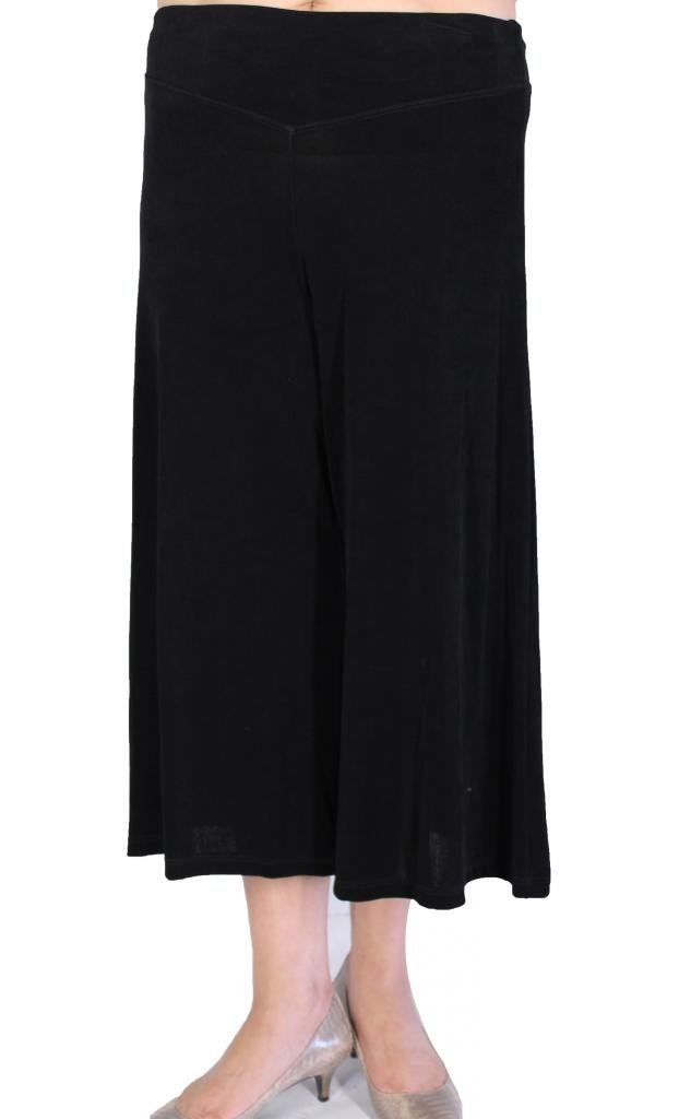 Calison Women's Travel Knit Slinky High Waist Stretch Pull On Guacho Pants Made in USA 1X-Large Black