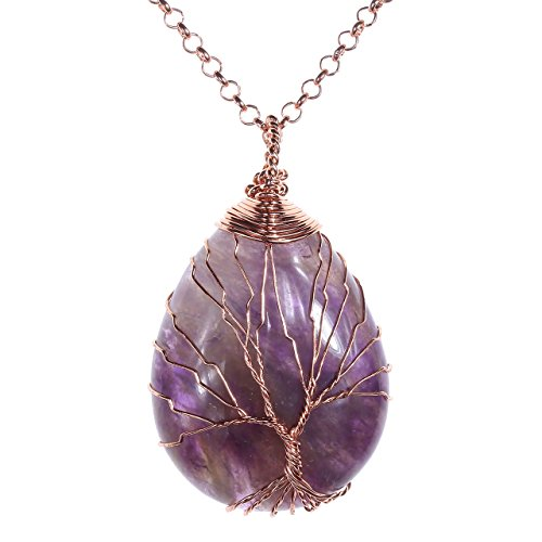 Top Plaza Wire Wrapped Tree of Life Natural Gemstone Teardrop Pendant Necklace Healing Crystal Chakra Jewelry for Women - Amethyst