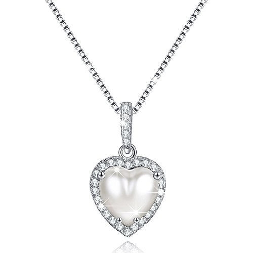 (June Simulated Pearl Birthstone Necklace Love Heart Necklace Sterling Silver Gifts for Mom)