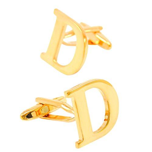 New stylish golden English letters D men's custom designer engraved French shirt (Custom French Cuff Shirts)