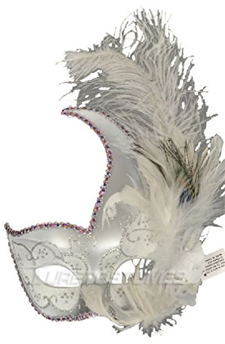 [8eighteen Mardi Gras Masquerade White Swan Crescent Mask (White/Silver)] (White And Black Swan Halloween Costumes)
