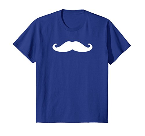 Kids White Mustache Print Logo T Shirt for Men, Women, Kids 4 Royal Blue