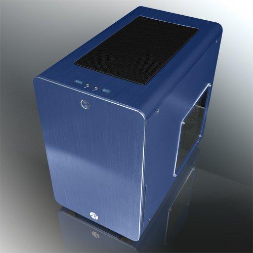 おしゃれなパソコンケース RAIJINTEK 外装にアルミニウムを採用したμATX規格マザーボード対応のキューブ型PCケース 0R200028(STYX BLUE)
