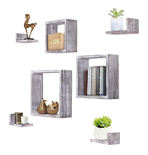 Rustic Wall Mounted Square Shaped Floating Shelves – Set of 7 – 3 Square Shelves and 4 L-Shaped Rustic Shelves – Screws and Anchors Included – Rustic Wall Décor - Rustic White