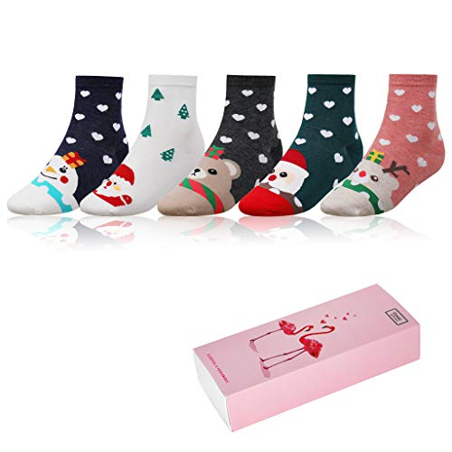 Cute Patterned Socks Christmas Theme Cartoon Casual Crew Sock 5 Pairs for Girls Women with Gift Box