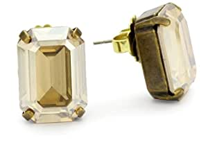 "Sorrelli ""Maple Syrup"" Emerald Cut Crystal Goldtone Stud Earrings"