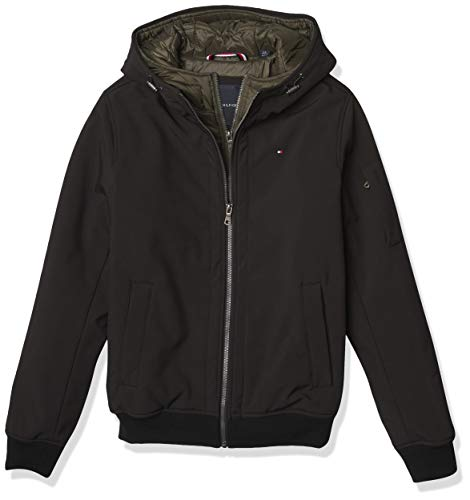 Tommy Hilfiger Men's Hooded Soft Shell Bomber Jacket with Bib (Standard and Big & Tall)